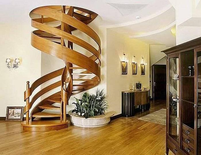Thiết kế cầu thang nhà ống uốn cong mang tính thẩm mỹ cao.