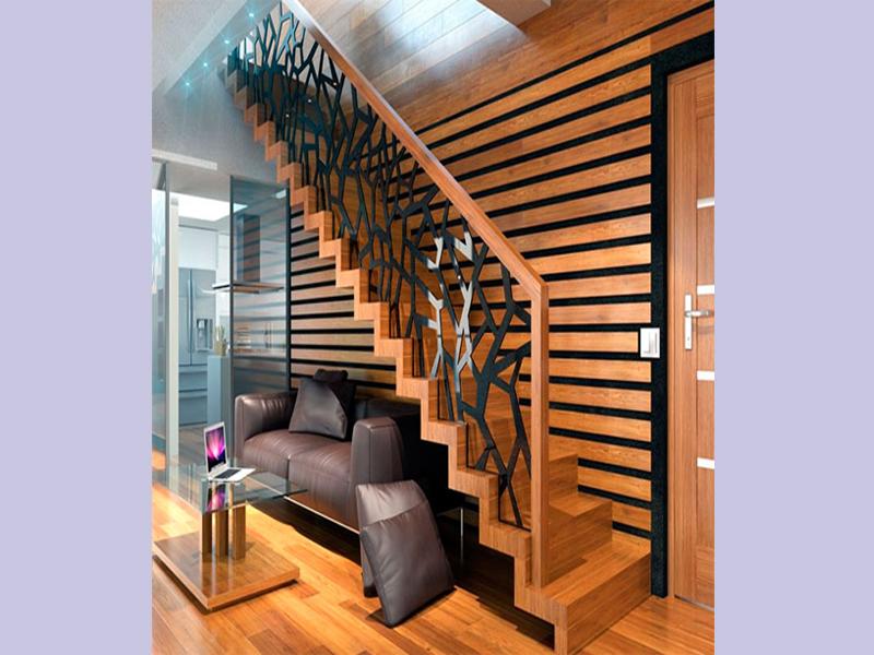 Thiết kế cầu thang gỗ theo chiều dọc của ngôi nhà.