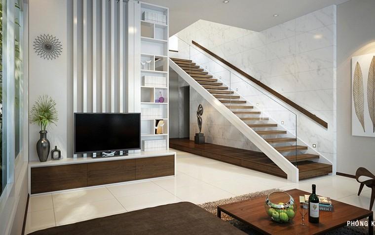 Cầu thang cho nhà ống với thiết kế thẳng đơn giản.