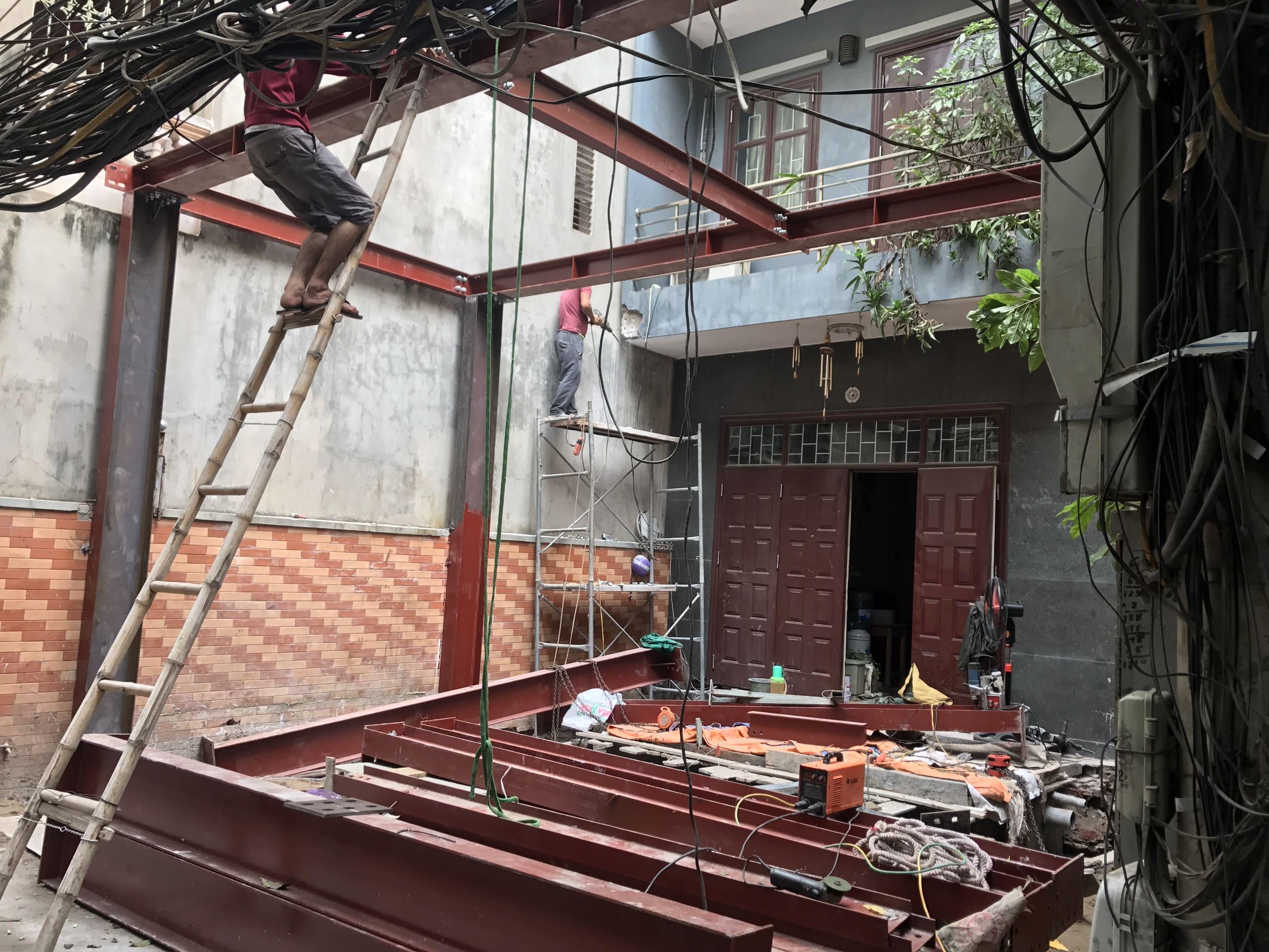 Phong cách thiết kế thi công nâng tầng nhà phố bằng khung cột thép hình